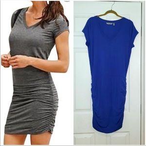 Athleta Topanga T Shirt Dress Blue V Neck